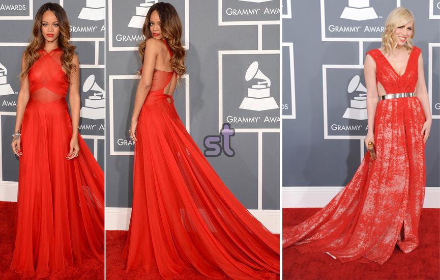 Rihanna vestido rojo grammy 2013